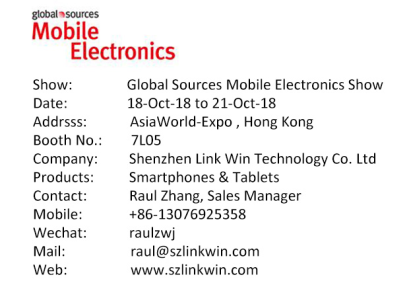 Welcome to visit our booth in Global Sources(Mobile Electronics)---18-21th, 2018